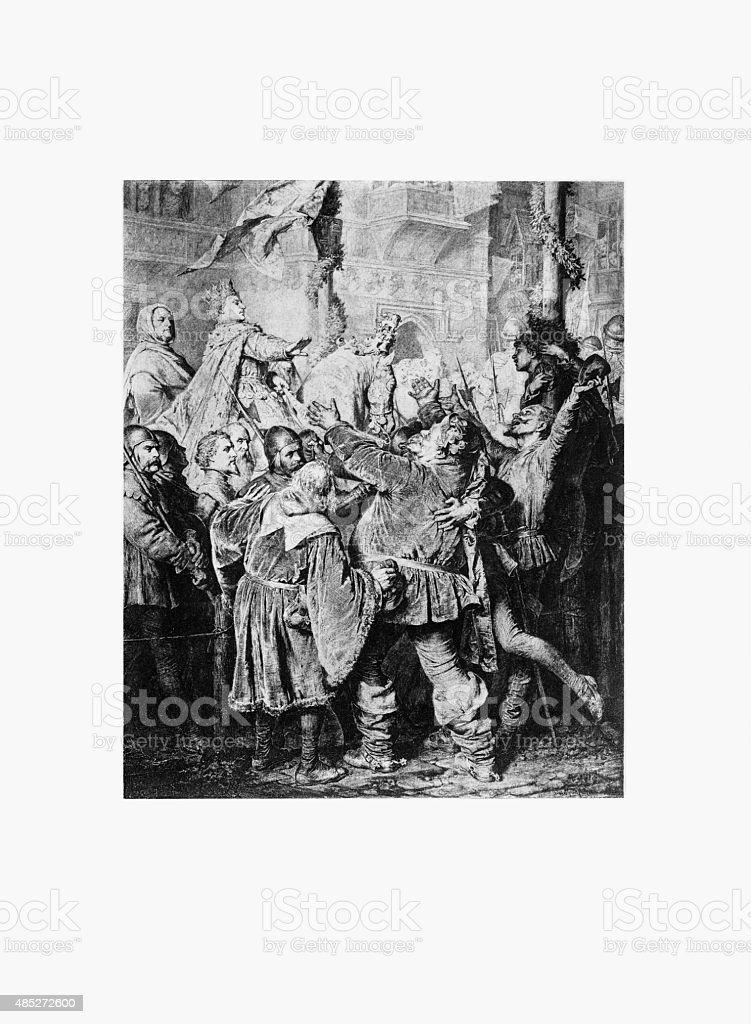 Henry V, 1388-1422, Rejects Falstaff Engraving vector art illustration