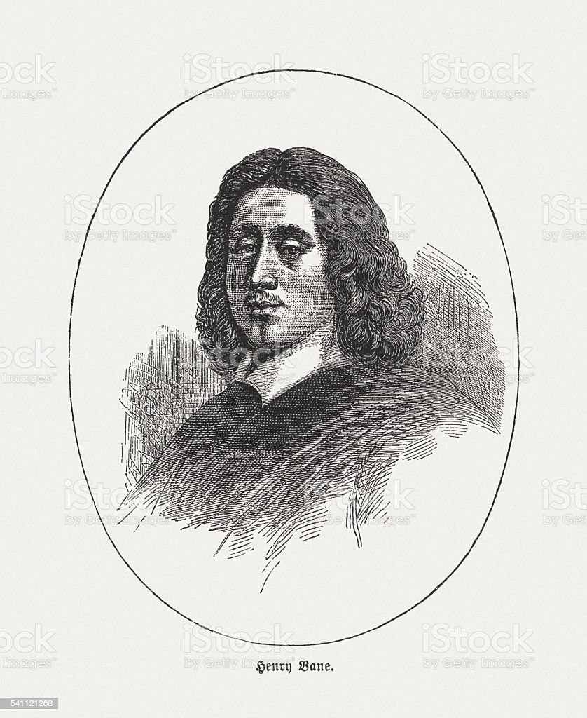 Henry Vane (1613-1662), English politician, wood engraving, published in 1884 vector art illustration