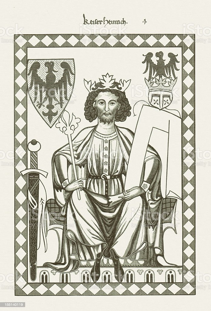 Henry VI (1165-1197), Roman-German king, from Codex Manesse, published 1881 stock photo