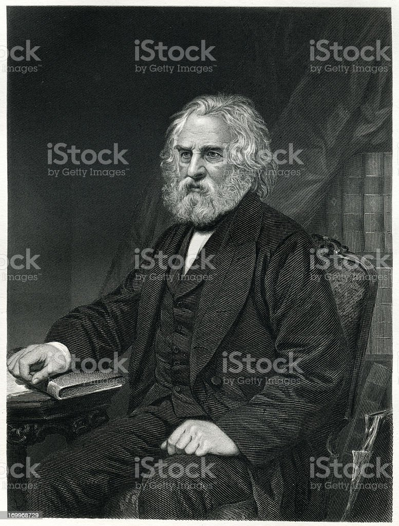 Henry Wadsworth Longfellow royalty-free stock vector art