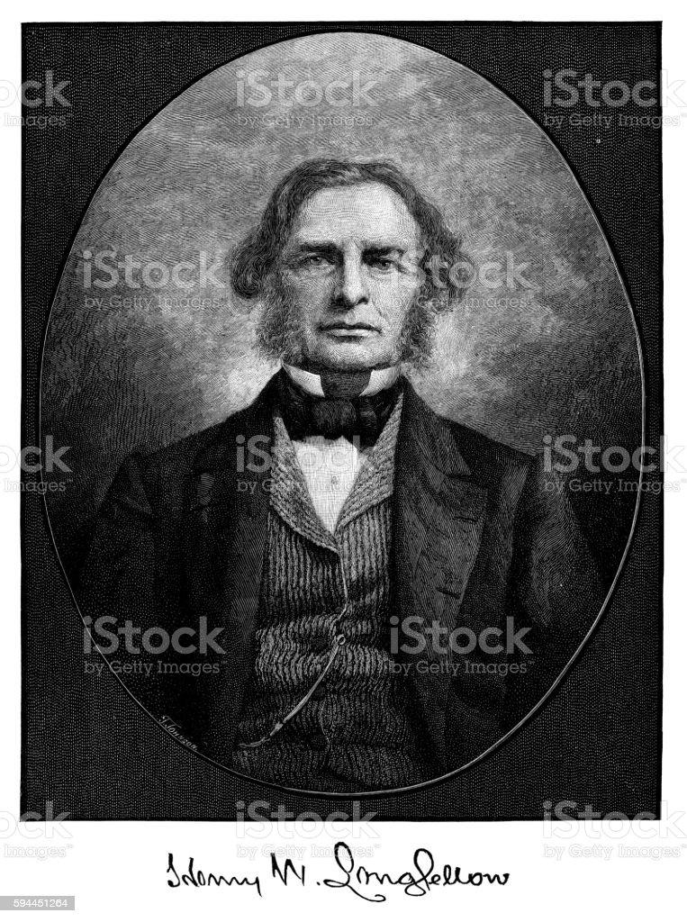 Henry Wadsworth Longfellow vector art illustration
