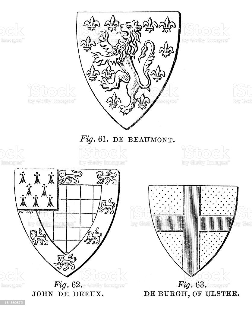 Heraldic Shields vector art illustration