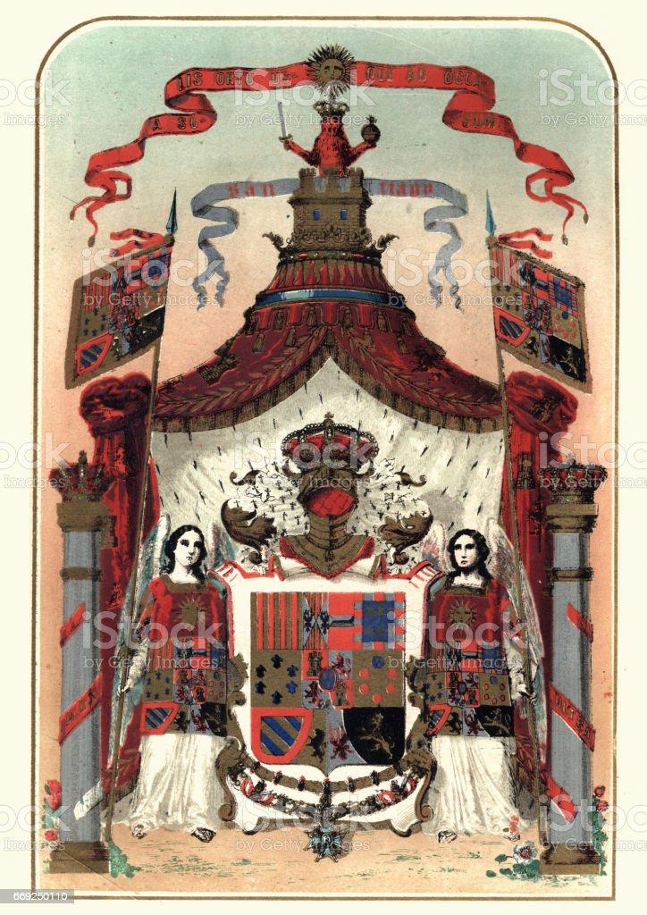 Heraldry - Coat of Arms of Spain vector art illustration