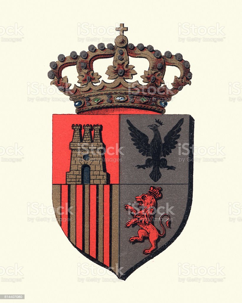 Heraldry - Heraldic crown and shield insignia vector art illustration