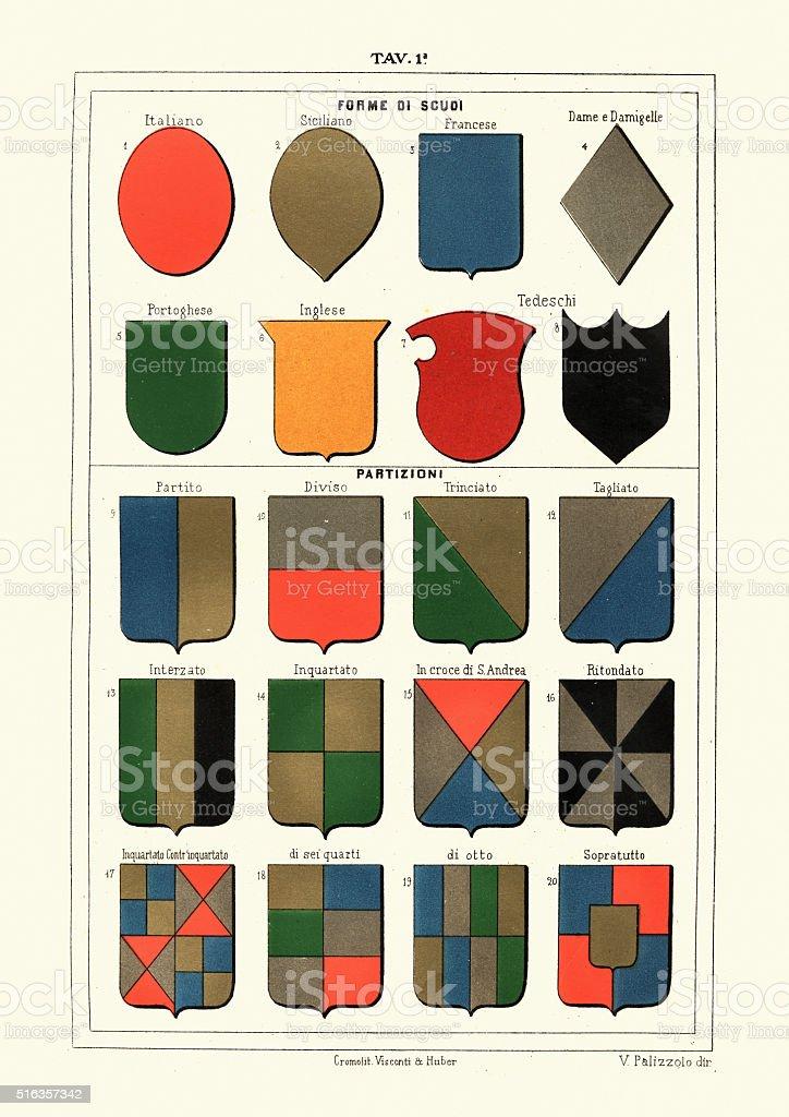 Heraldry - Medieval heraldic shield shapes vector art illustration