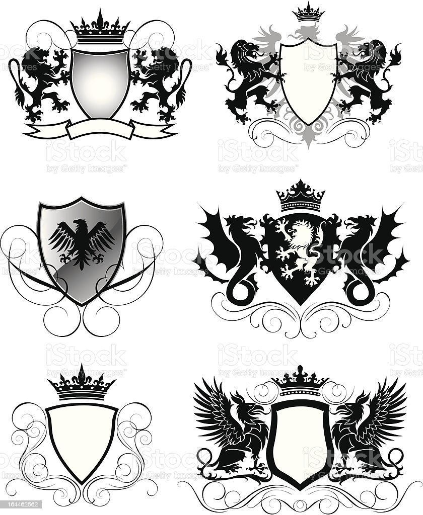 Heraldry set shield royalty-free stock vector art