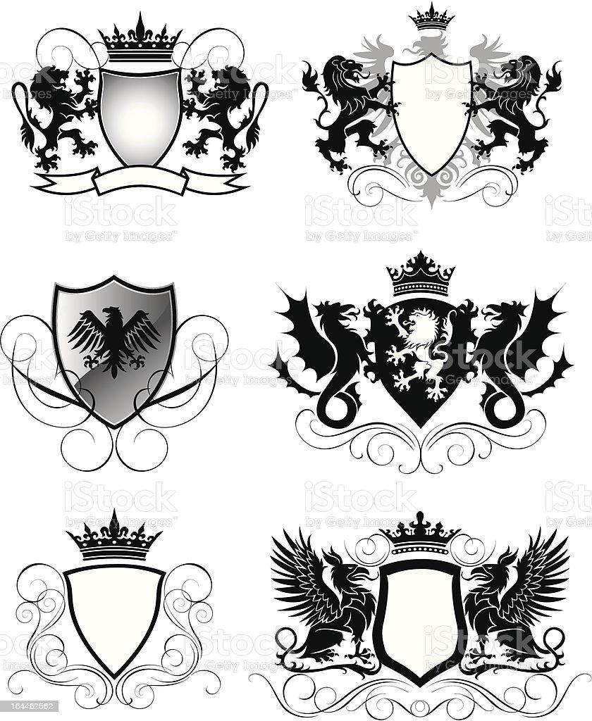 Heraldry set shield vector art illustration