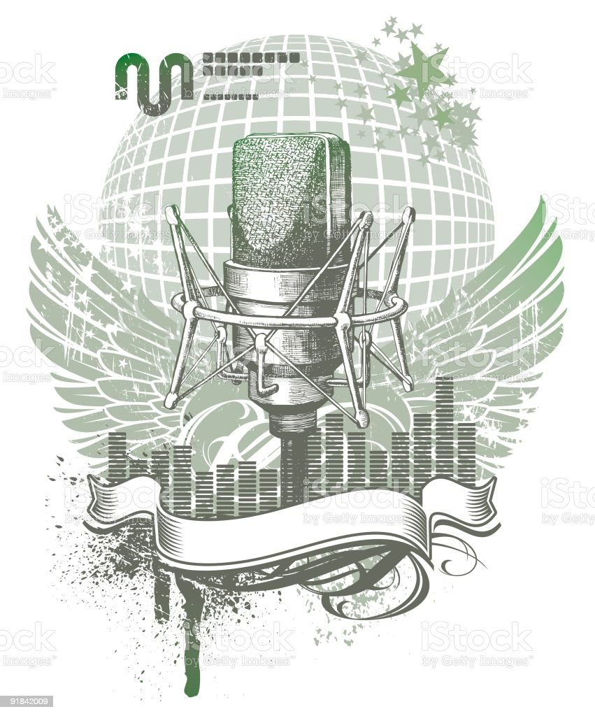 Heraldry with microphone royalty-free stock vector art