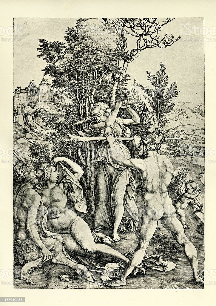 Hercules at the Crossroad vector art illustration
