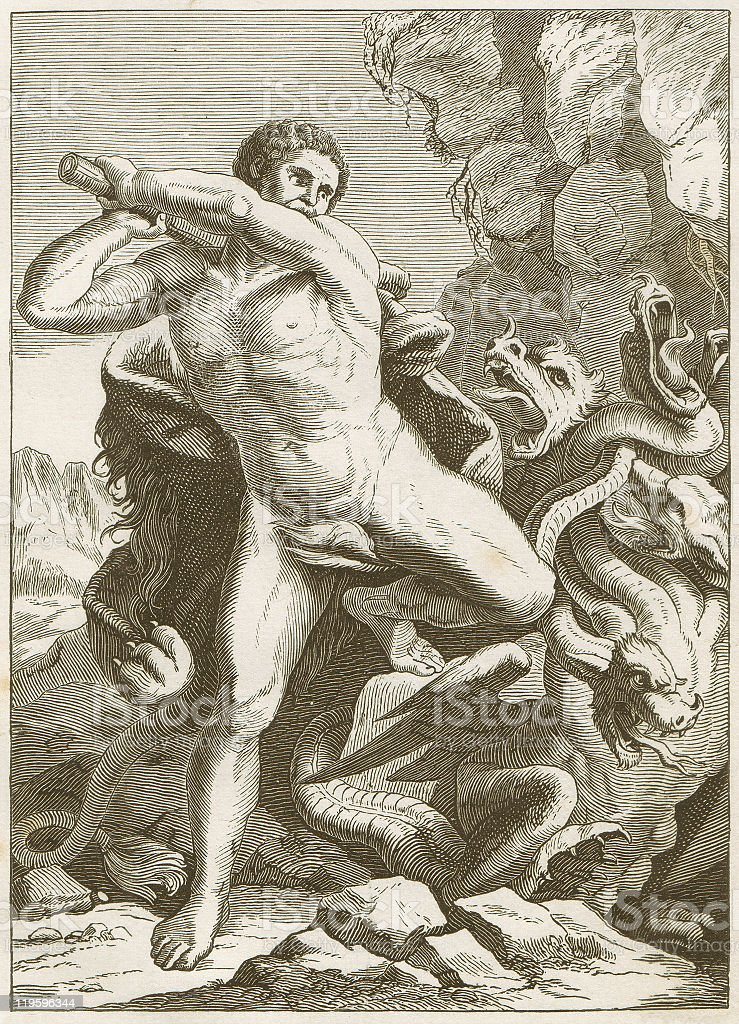 Hercules Vanquishing the Hydra of Lerma, Greek mythology, published 1883 royalty-free stock vector art