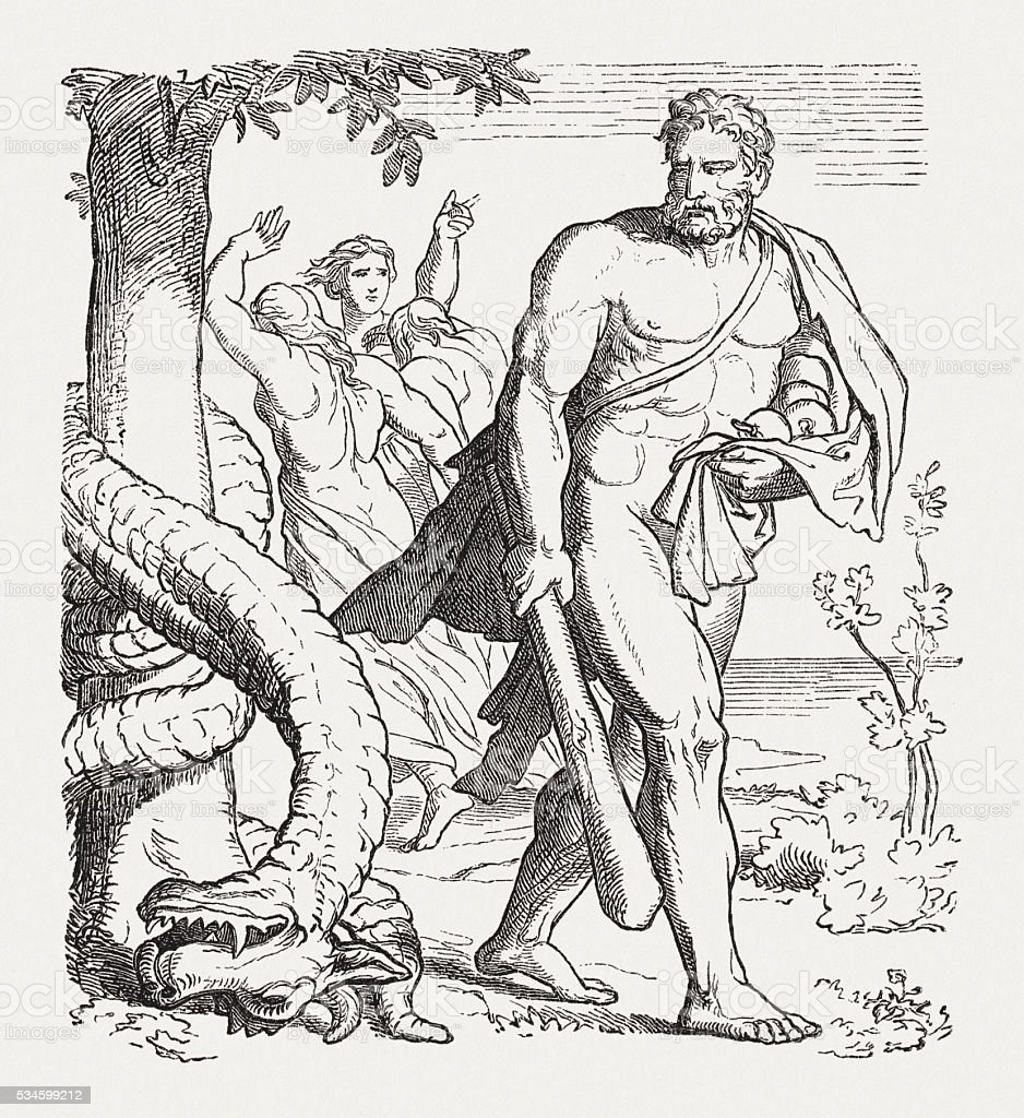 Hercules with the apples of the Hesperides, published in 1880 vector art illustration