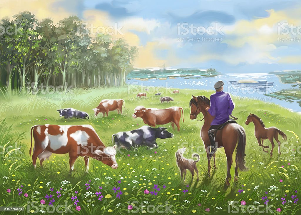 Herd of cows on a meadow and the shepherd on a horse. vector art illustration