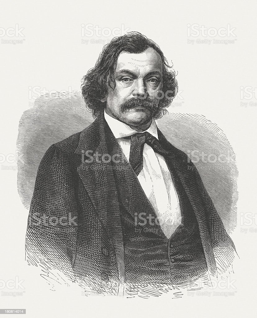 Hermann Marggraff (1809-1864), German writer, wood engraving, publidhed in 1864 royalty-free stock vector art