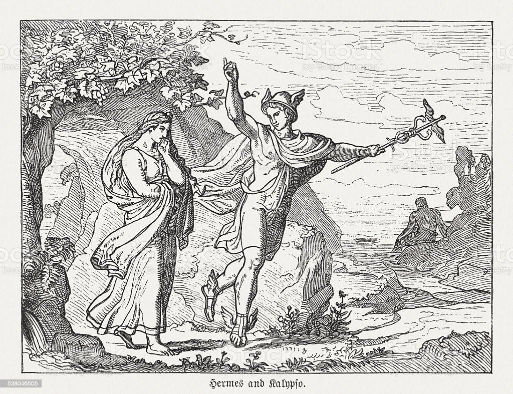 Hermes and Calypso, Greek mythology, wood engraving, published in 1880 vector art illustration