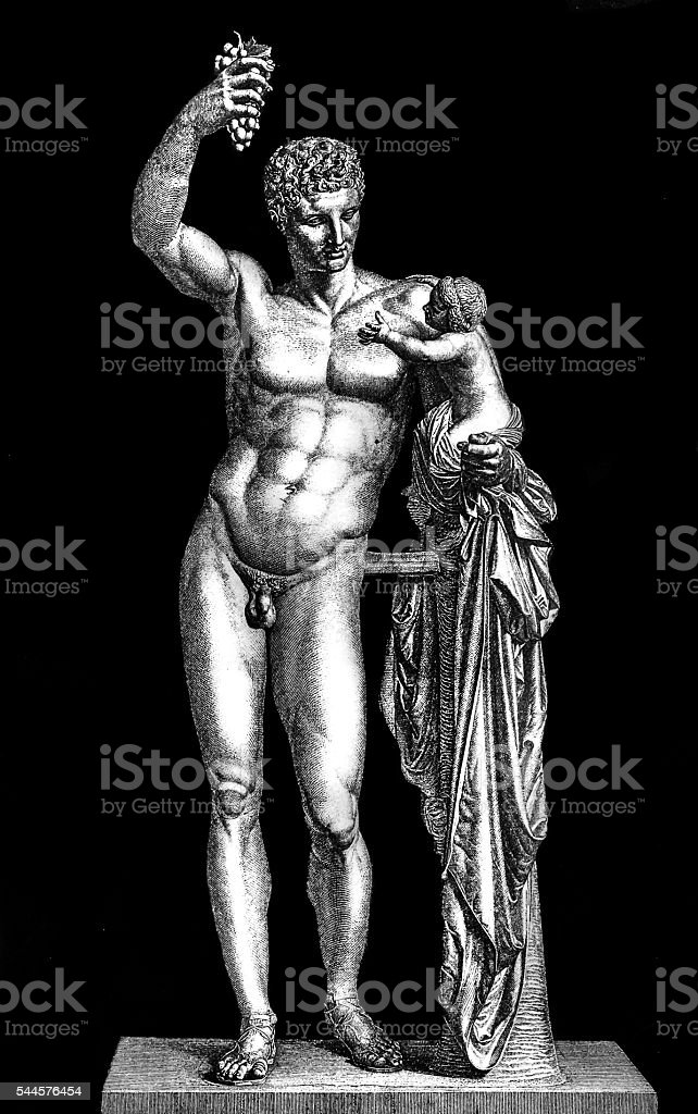 Hermes and the Infant Dionysus vector art illustration