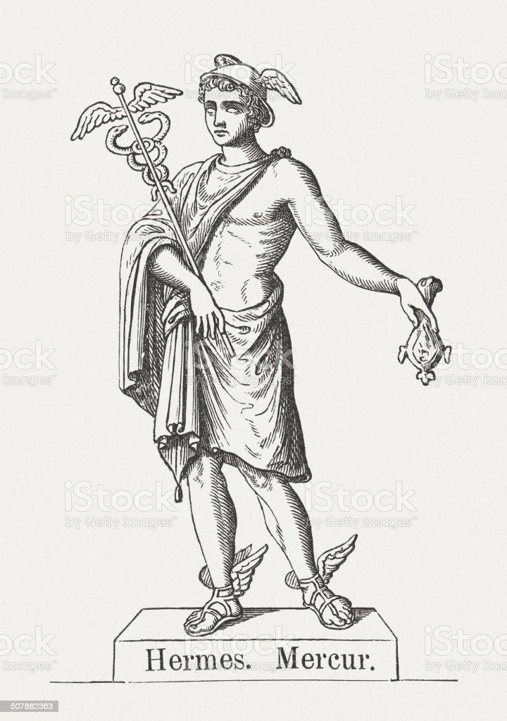 Hermes, Greek god of transitions, wood engraving, published 1878 vector art illustration