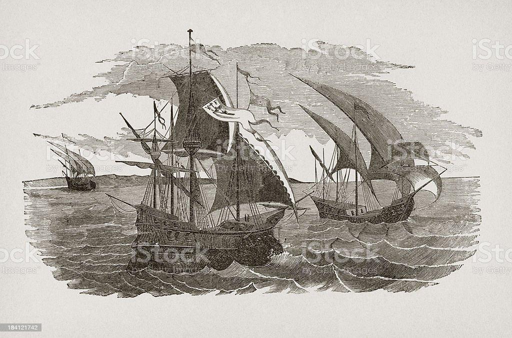 Hernán Cortés fleet sailing to Mexico royalty-free stock vector art