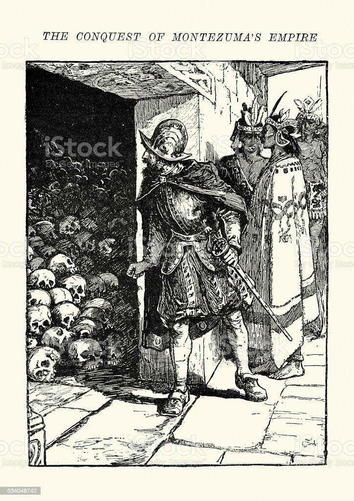 Hernan Cortes finding the skulls of sacrificial victims vector art illustration