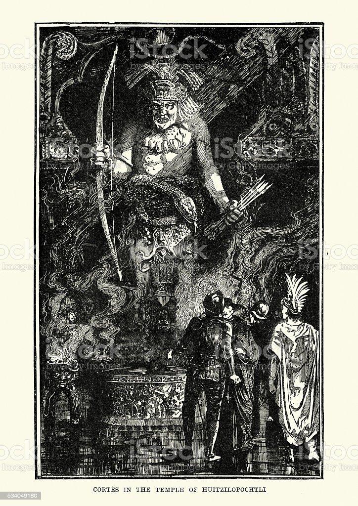 Hernan Cortes in the Temple of Huitzilopochtli vector art illustration