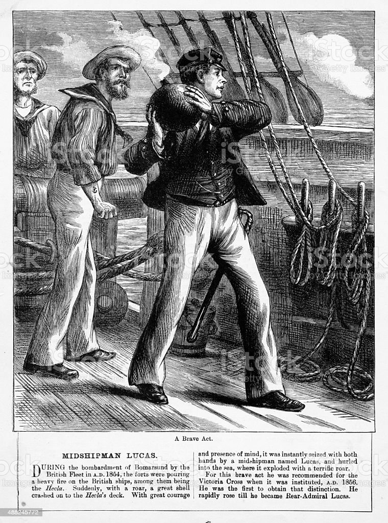Heroic Act of a Midshipman Victorian Engraving vector art illustration