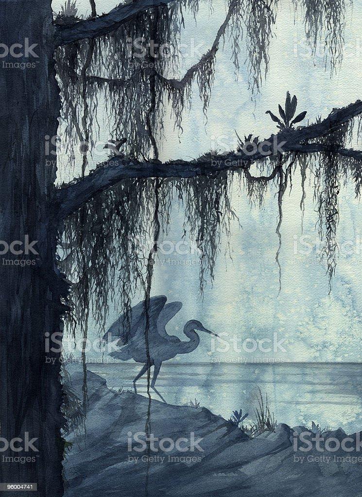 Heron in Swamp vector art illustration