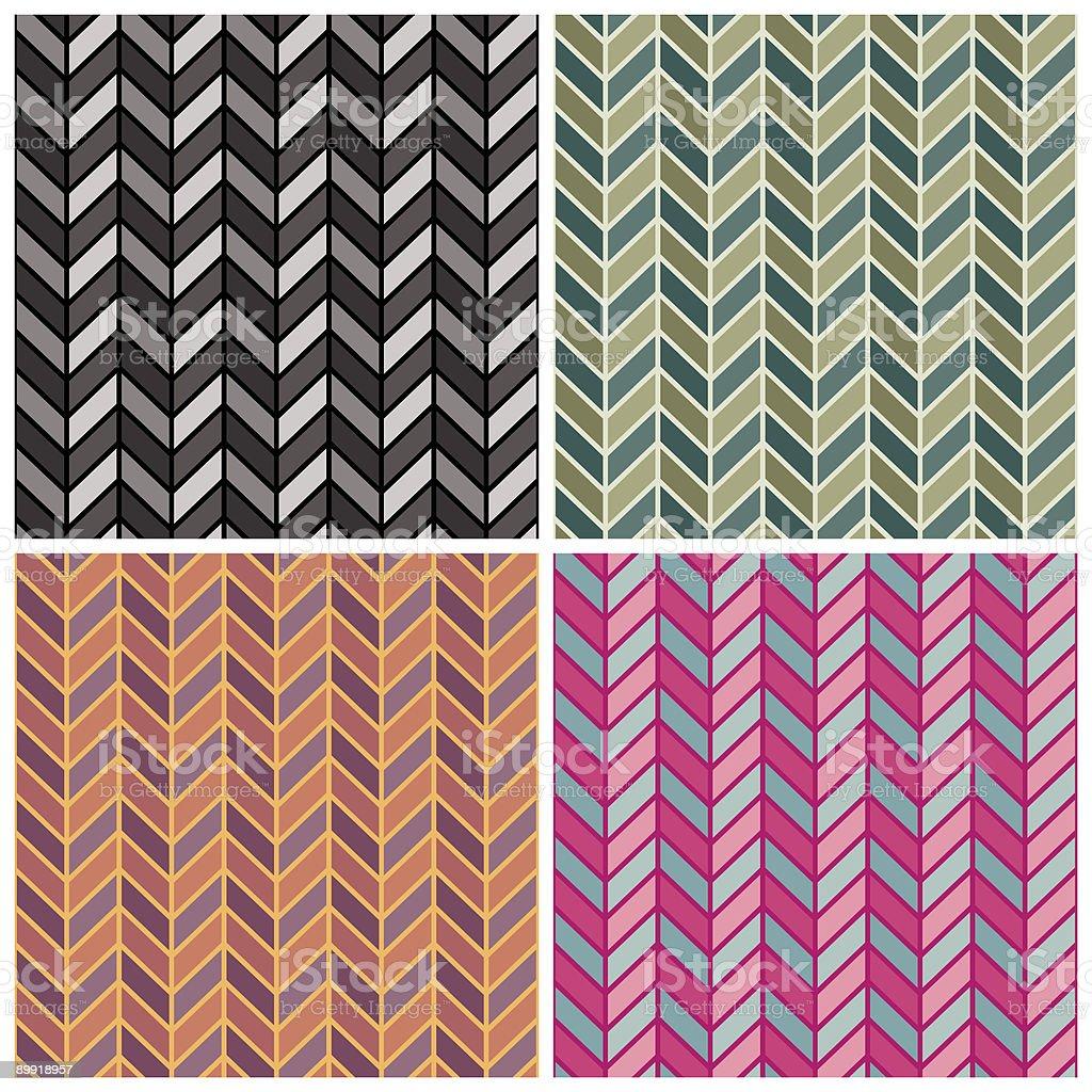 Herringbone Pattern in Four Colorways vector art illustration