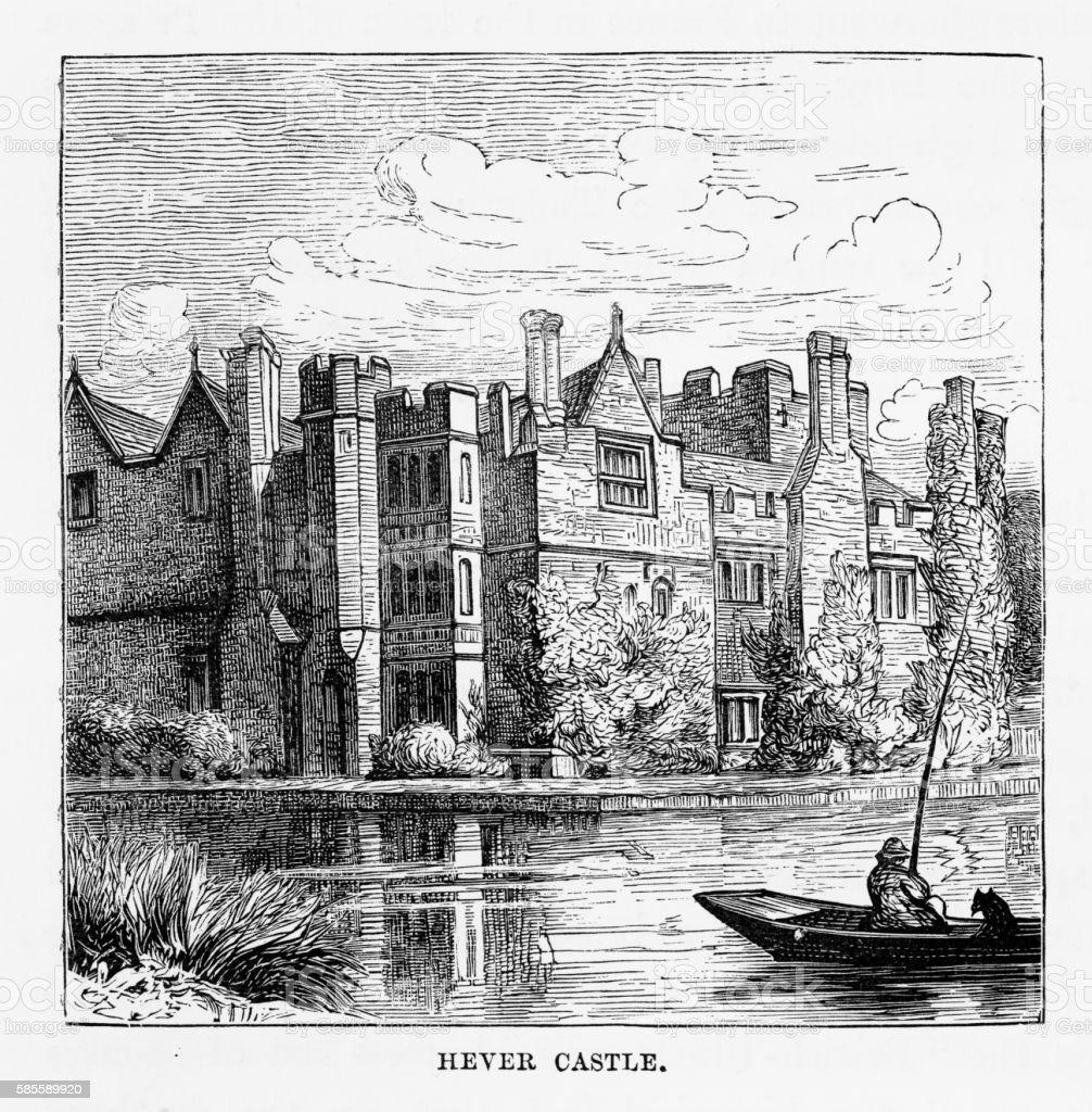 Hever Castle, in Penshurst, England Landmarks Victorian Engraving, 1840 vector art illustration