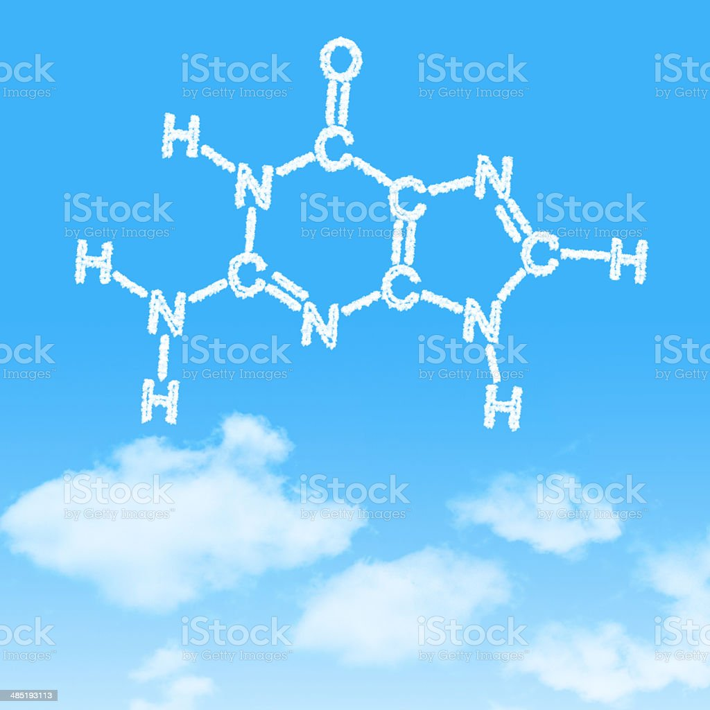 Hexagon dna cloud icon with design on blue sky background royalty-free stock vector art