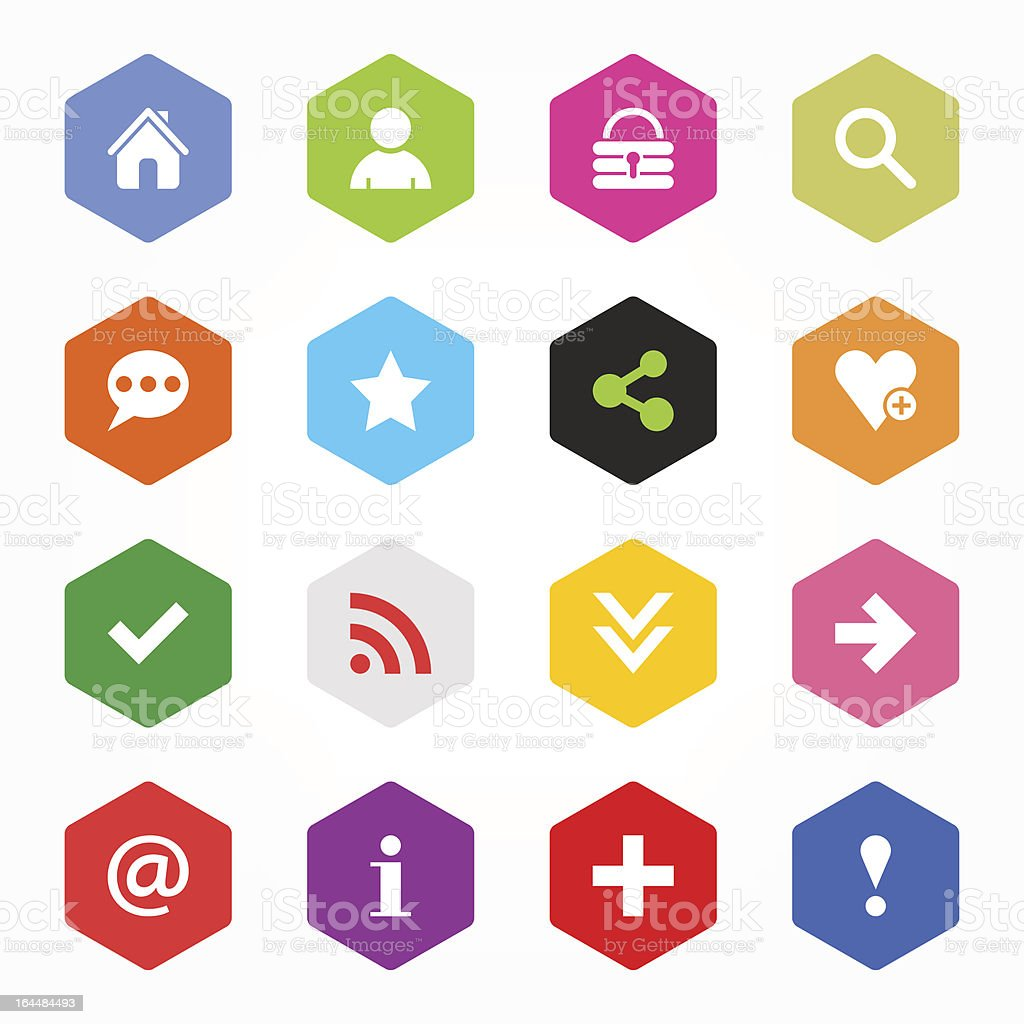 Hexagon icon with basic web signs modern simple style button royalty-free stock vector art