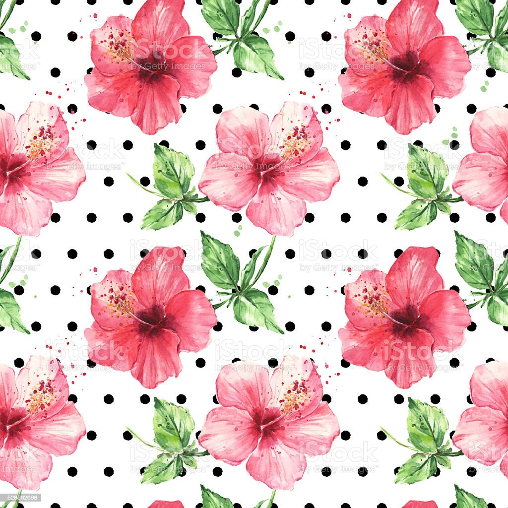 Hibiscus flowers on polka dot background. Watercolor seamless floral pattern vector art illustration