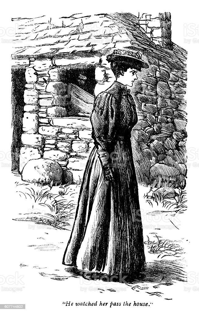 Hidden man watching a Victorian woman passing by vector art illustration