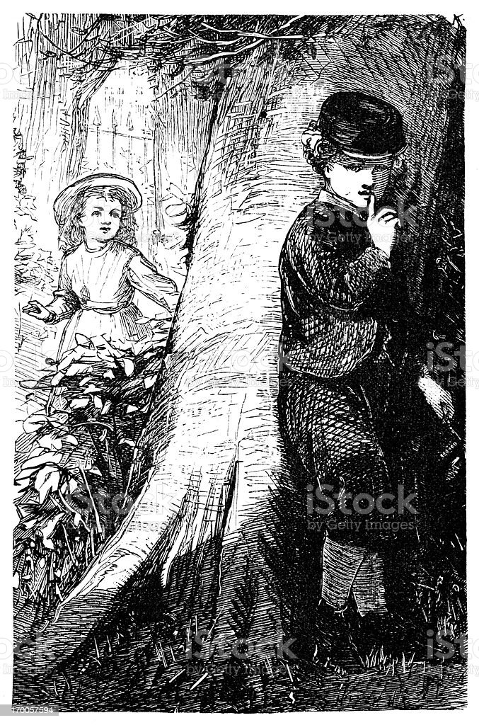 Hide and seek - Victorian children at play vector art illustration