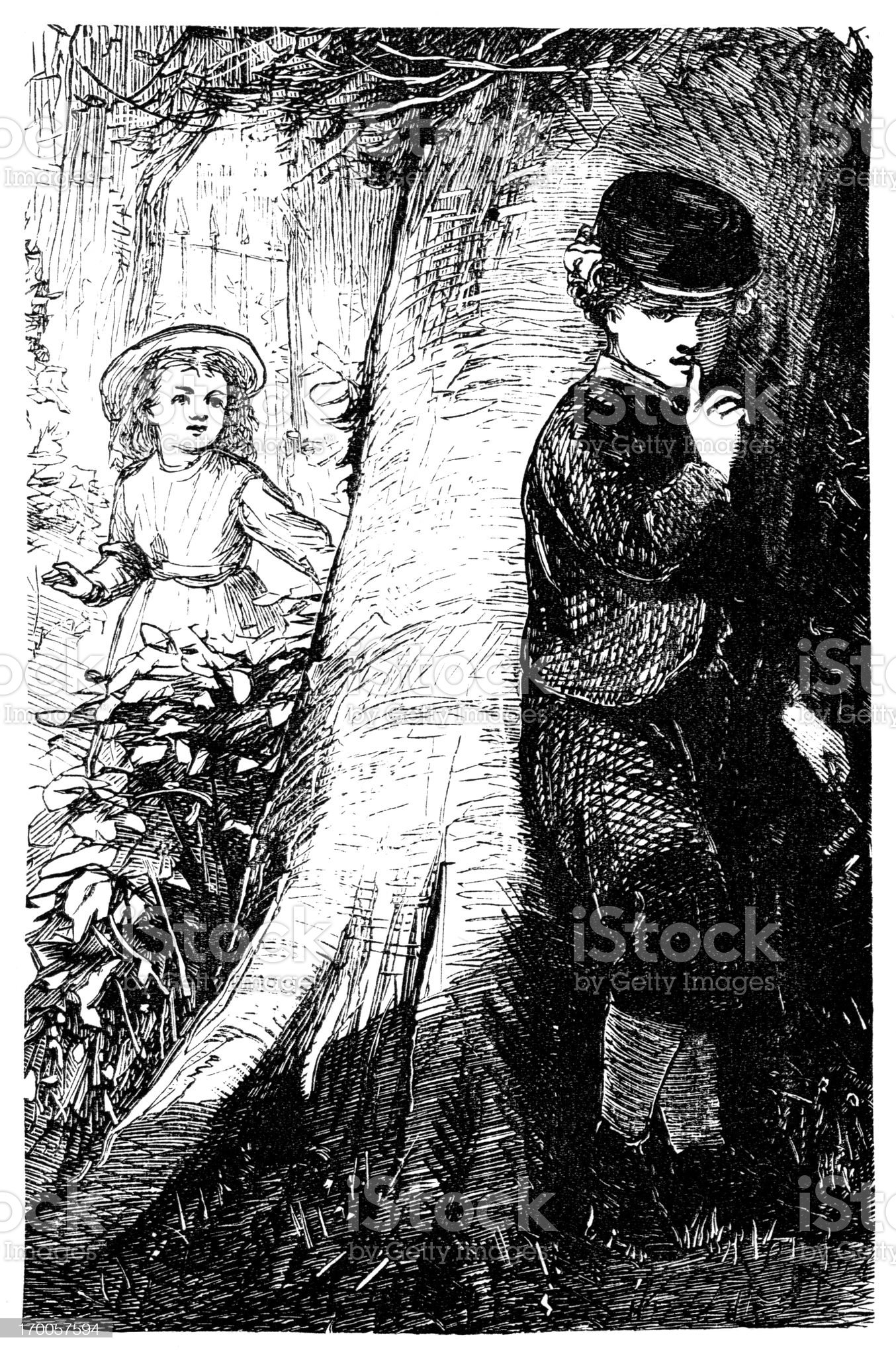 Hide and seek - Victorian children at play royalty-free stock vector art
