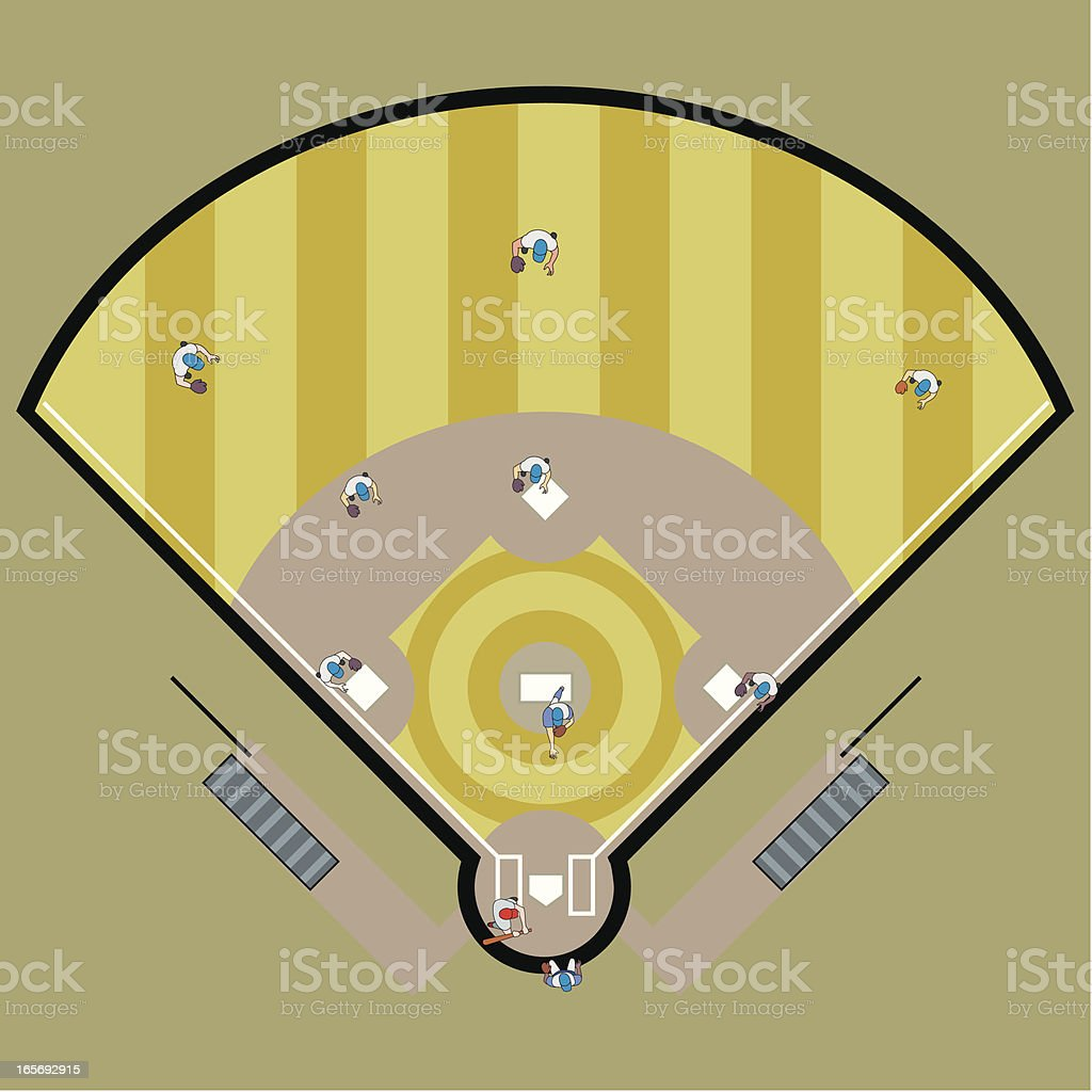 High angle view of a baseball match in progress vector art illustration