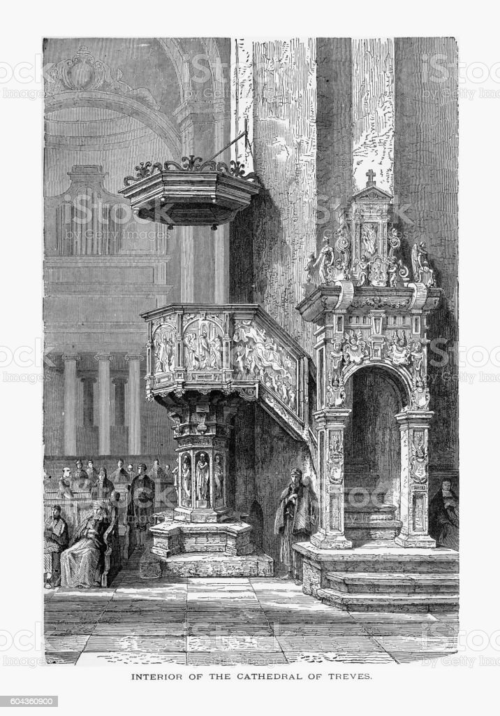 High Cathedral of Saint Peter in Trier, Germany, Circa 1887 vector art illustration