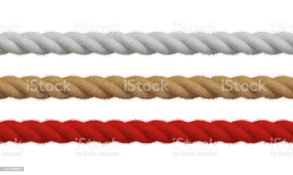 High detail colored ropes vector art illustration