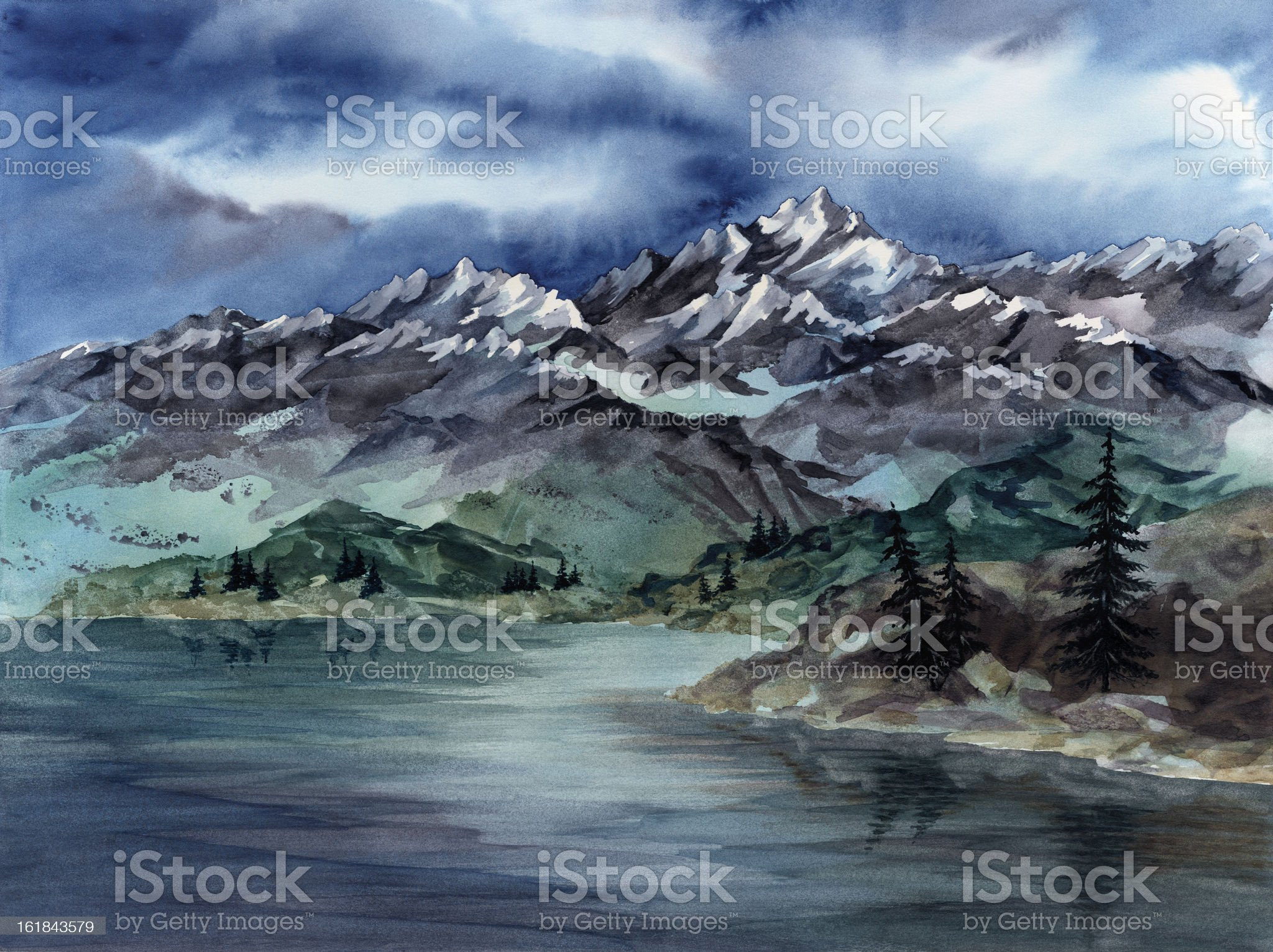 High in the Rockies royalty-free stock vector art