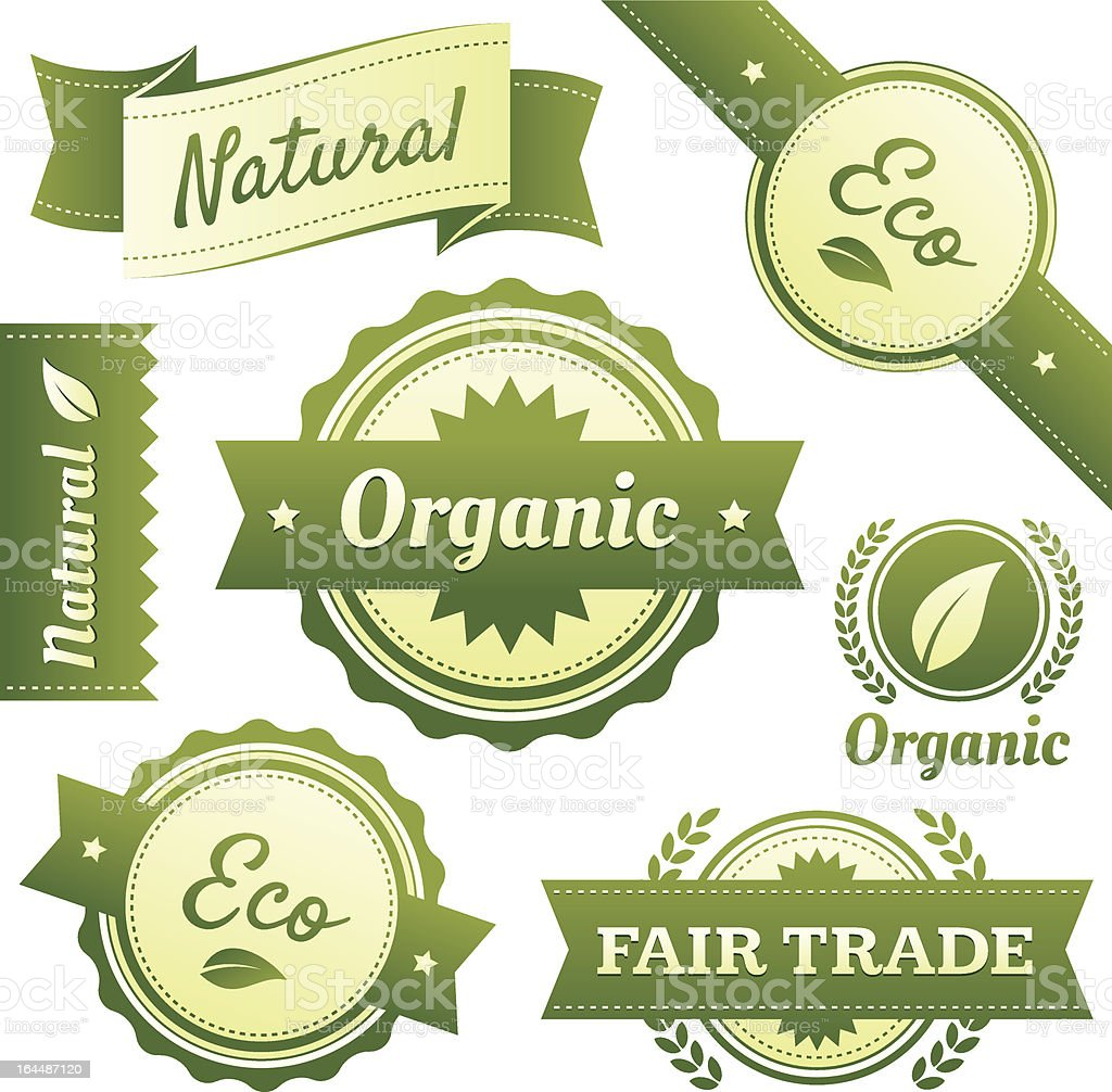 'High Quality Natural, Organic, Eco, and Fair Trade Labels' vector art illustration