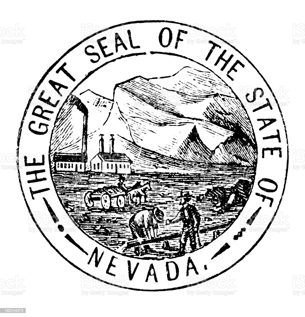 High Resolution Old State Seal of Nevada royalty-free stock vector art