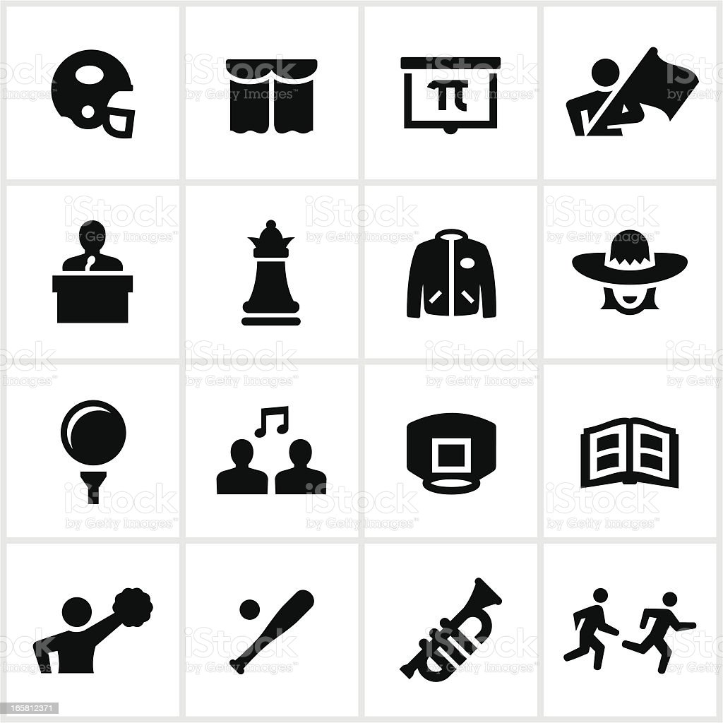 High School Sports and Clubs Icons vector art illustration