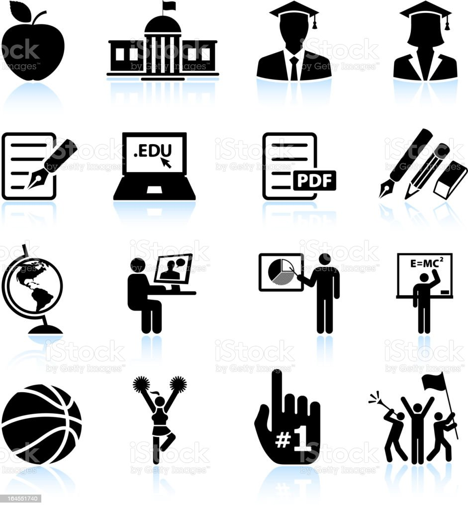 Higher education college and university royalty free vector icon set vector art illustration
