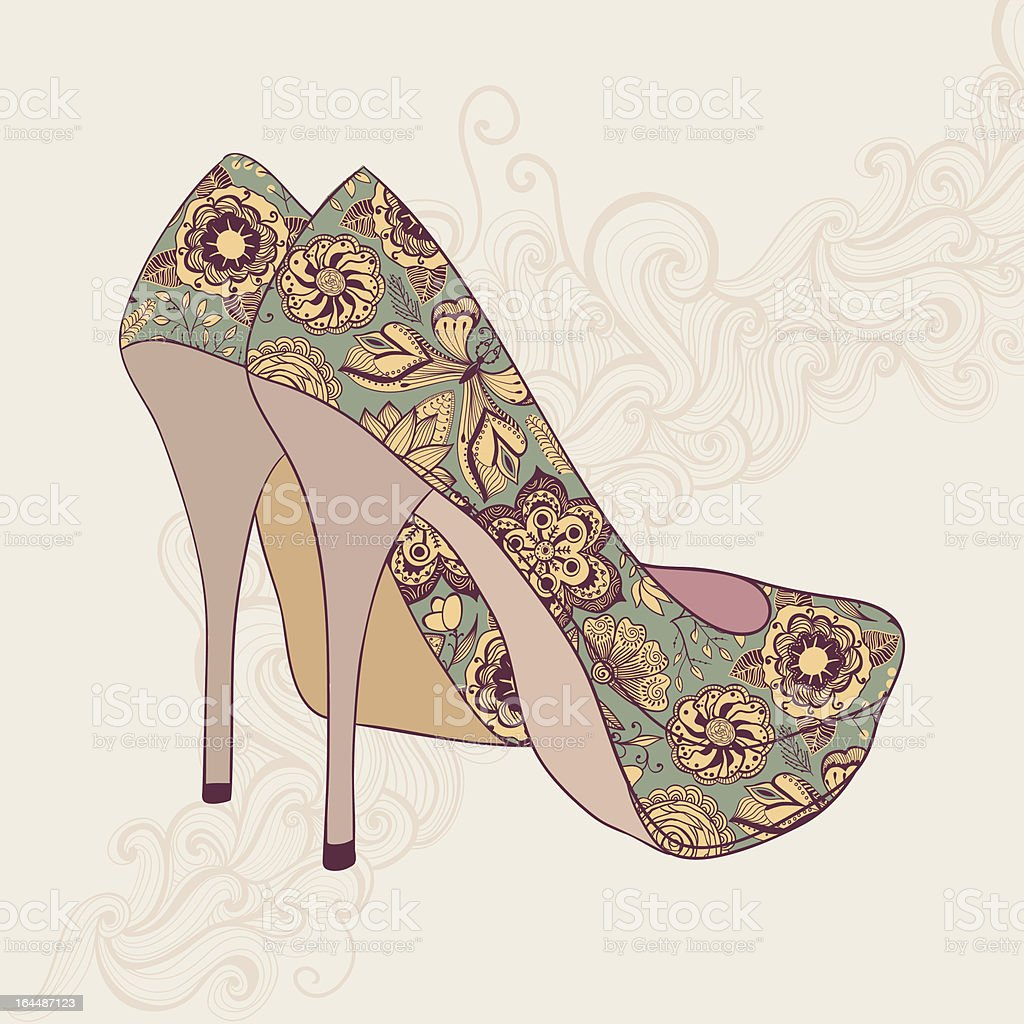 high-heeled vintage shoes with flowers fabric royalty-free stock vector art