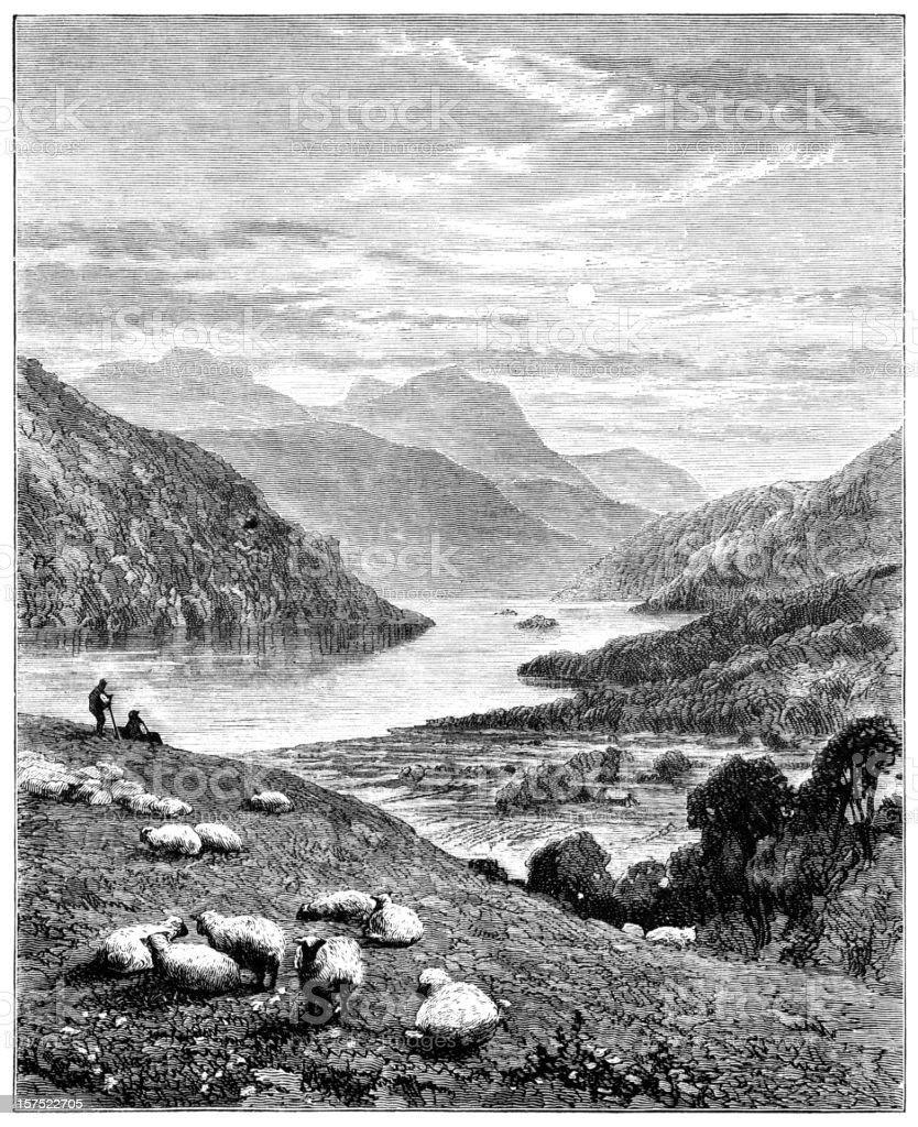 Highland scenery - Victorian illustration vector art illustration