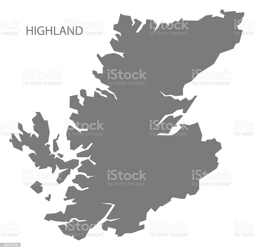 Highland Scotland Map grey vector art illustration