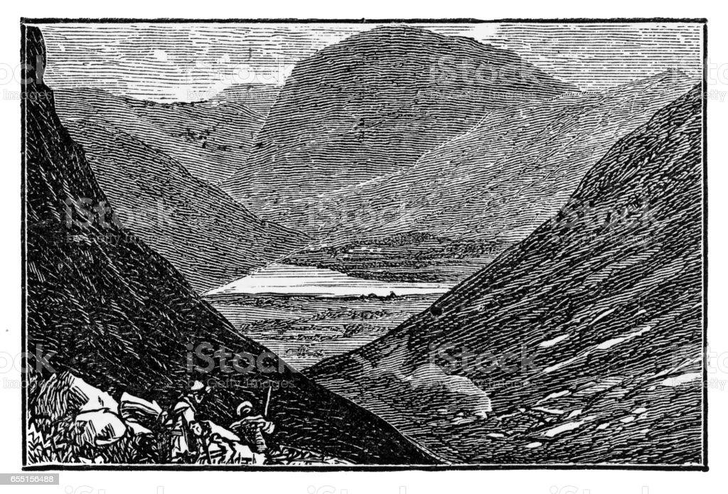 Highlands Landscape in Scotland Victorian Engraving, 1840 vector art illustration