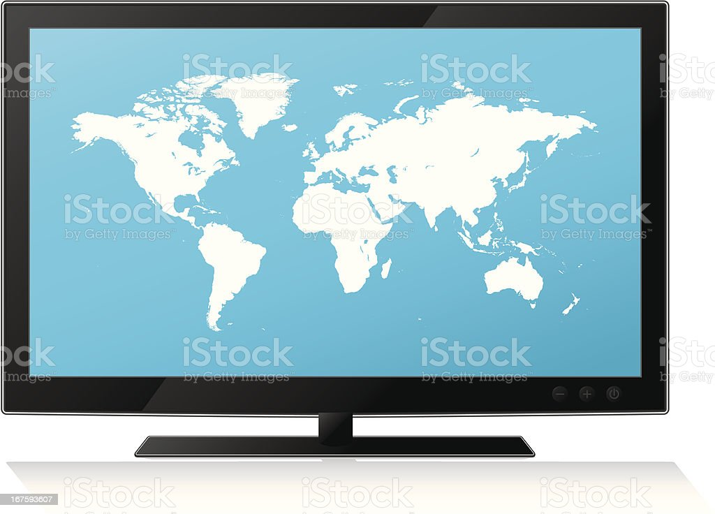 Highly detailed world map on lcd flat screen tv royalty-free stock vector art