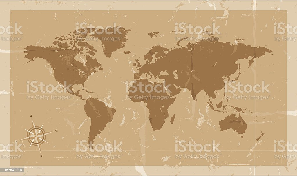 Highly detailed world map with compass vintage style royalty-free stock vector art