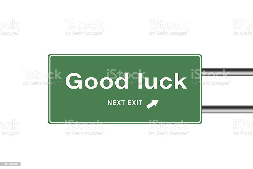Highway exit sign for Good luck direction. vector art illustration