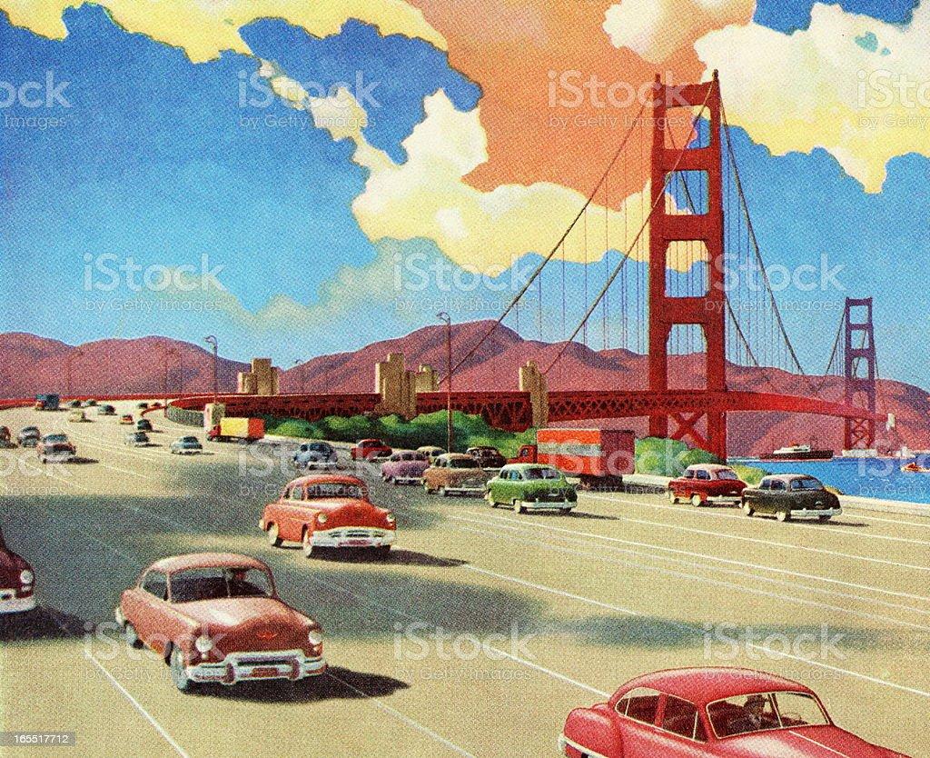 Highway over the Golden Gate Bridge royalty-free stock vector art