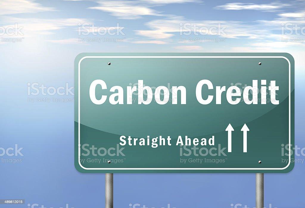 Highway Signpost Carbon Neutrality vector art illustration